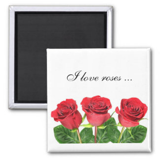 Rectangular magnet with roses