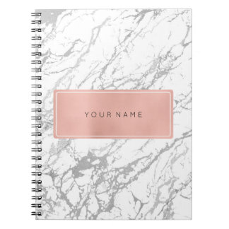 Rectangular Pink Rose Gold Marble Silver Metallic Notebooks