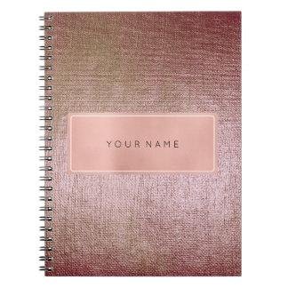 Rectangular Pink Rose Gold Powder Metallic Brush Notebook