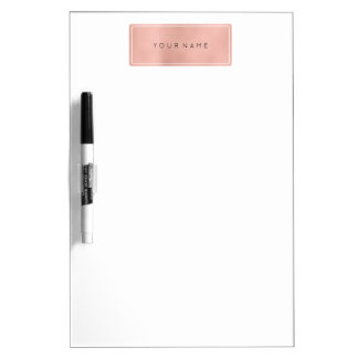 Rectangular Pink Rose Gold Powder Metallic Dry Erase Board