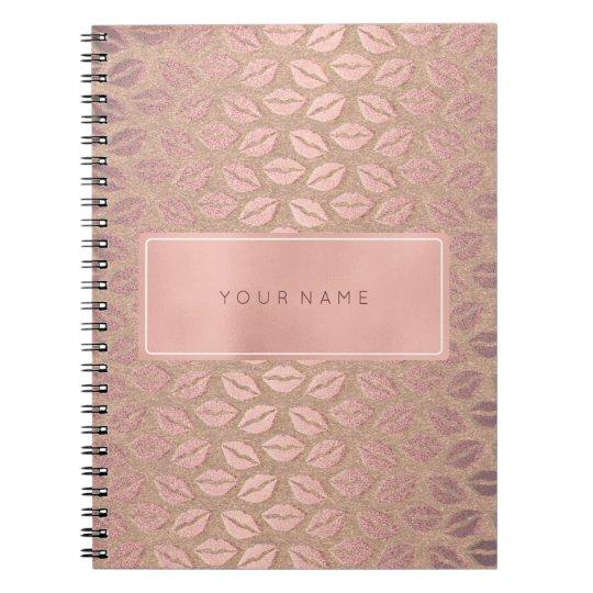 Rectangular Pink Rose Gold Powder Metallic Kiss Notebooks