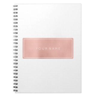 Rectangular Pink Rose Gold Powder Metallic Notebooks