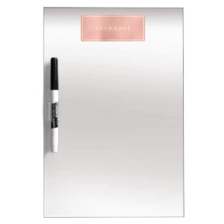Rectangular Pink Rose Gold Powder Metallic Silver Dry Erase Board
