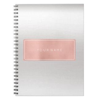 Rectangular Pink Rose Gold Powder Metallic Silver Spiral Notebook