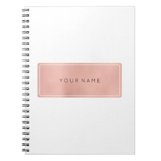 Rectangular Pink Rose Gold Powder Metallic Spiral Notebook