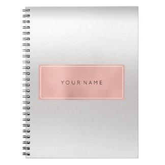 Rectangular Pink Rose Gold Powder Silver Metallic Spiral Notebook