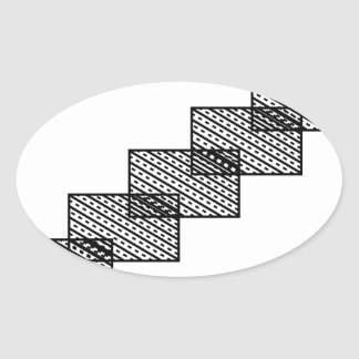Rectangular stone stairs oval sticker