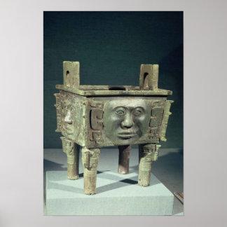 Rectangular 'ting' vessel with human faces print