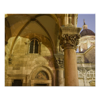 Rector's Palace Arches with Dubrovnik Cathedral Poster