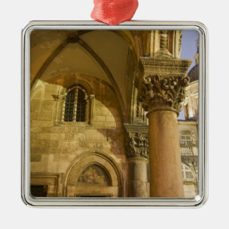 Rector's Palace Arches with Dubrovnik Cathedral Silver-Colored Square Decoration