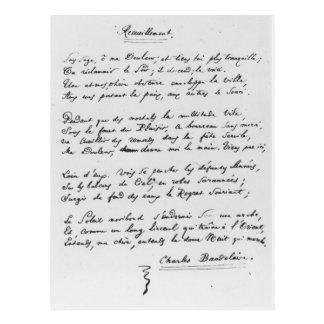 Recueillement', signed sonnet, 1861 postcard