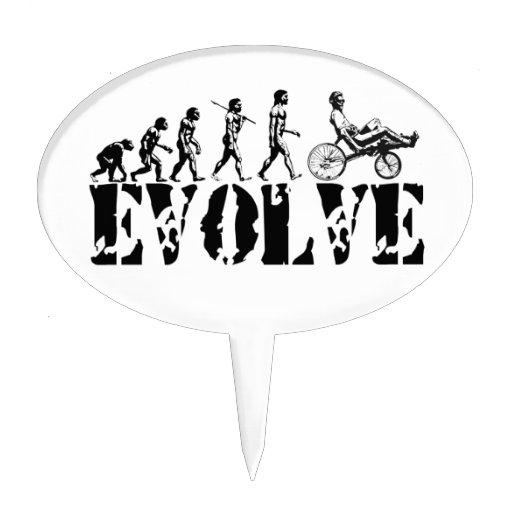 Recumbent Bicycle Evolution Fun Sports Art Oval Cake Picks