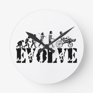 Recumbent Bicycle Evolution Fun Sports Art Round Clock