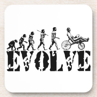 Recumbent Bicycle Evolution Fun Sports Art Coasters