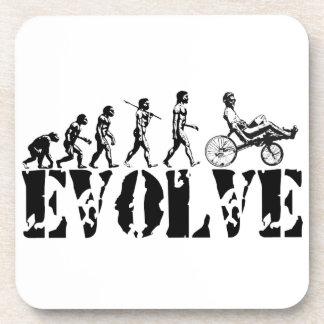 Recumbent Bicycle Evolution Fun Sports Art Coasters
