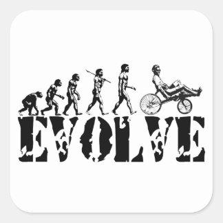 Recumbent Bicycle Evolution Fun Sports Art Square Stickers