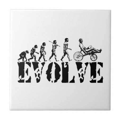 Recumbent Bicycle Evolution Fun Sports Art Ceramic Tiles