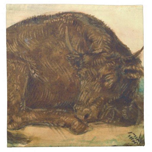 Recumbent Bull 1842 Printed Napkins