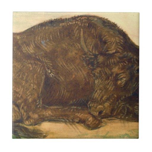 Recumbent Bull 1842 Ceramic Tile