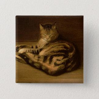 Recumbent Cat, 1898 15 Cm Square Badge
