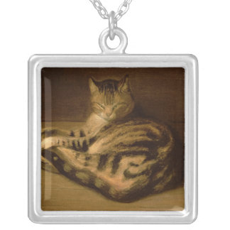 Recumbent Cat, 1898 Silver Plated Necklace