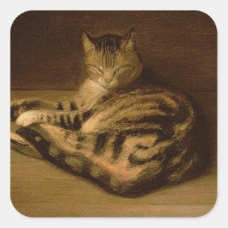 Recumbent Cat, 1898 Square Stickers