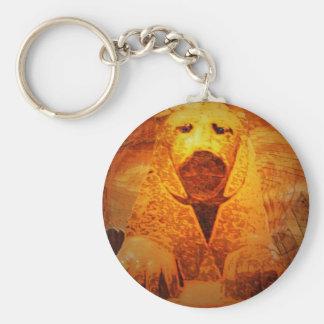 recumbent lion basic round button key ring
