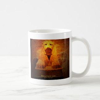 recumbent lion basic white mug
