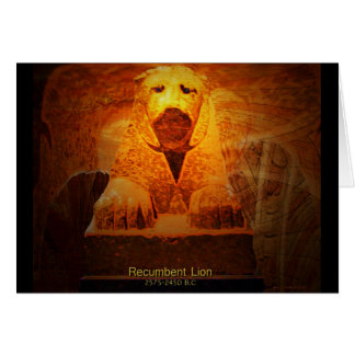 recumbent lion greeting card