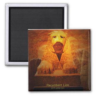 recumbent lion square magnet