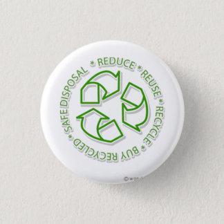 recycle 3 cm round badge