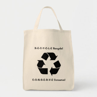 recycle and conserve grocery tote bag