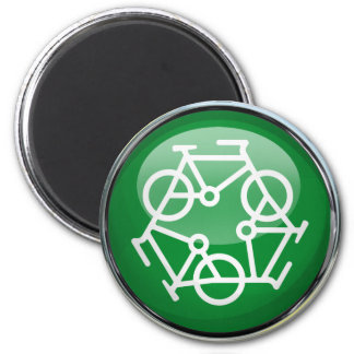 Recycle Bicycle 6 Cm Round Magnet