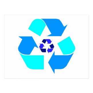 Recycle Blue Logo- Customizable Background- Postca Postcard