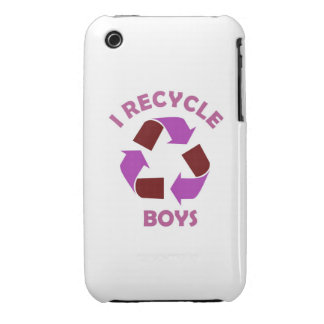 recycle boys funny text humor message pink Case-Mate iPhone 3 case