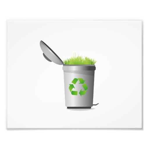 recycle can with grass eco design.png photo print