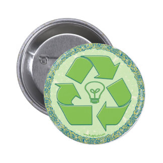 Recycle Earth Day Gear Pinback Button
