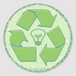 Recycle Earth Day Gear Classic Round Sticker