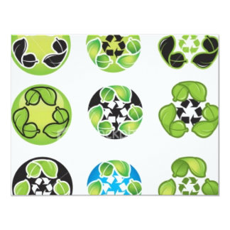 recycle go green 11 cm x 14 cm invitation card