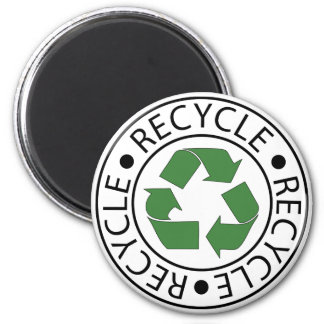 Recycle Green Center Logo 6 Cm Round Magnet