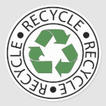 Recycle Green Centre Logo Round Stickers