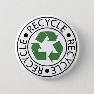 Recycle Green Ceter Logo 6 Cm Round Badge