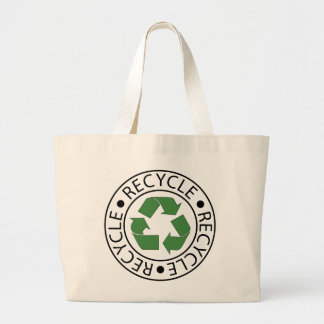 Recycle Green Ceter Logo Large Tote Bag