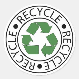 Recycle Green Ceter Logo Round Sticker