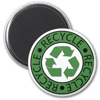 Recycle Green Logo BK Letters 6 Cm Round Magnet