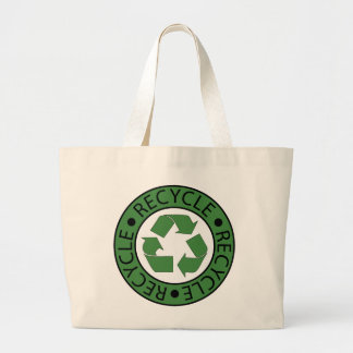 Recycle Green Logo BK Letters Large Tote Bag