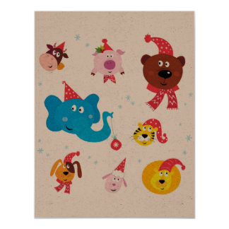 "Recycle greeting with ""Happy animals family"" Card"