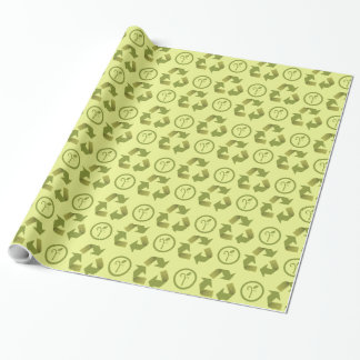 Recycle icon and green leaf pattern gift wrapping paper