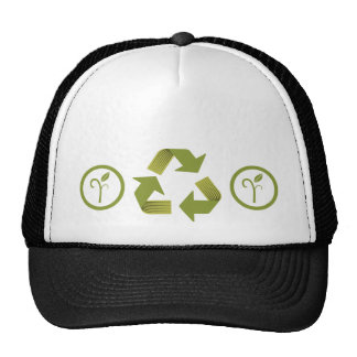 Recycle icon with leaves pattern hat