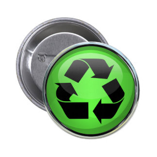 Recycle Logo in Glass & Chrome 6 Cm Round Badge